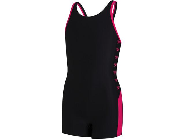 speedo Boom Logo Splice Legsuit Girls black/electric pink